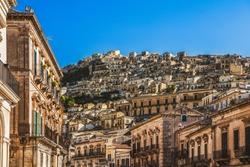 Panorama of the ancient sicilian town, UNESCO world heritage site, Modica in the province of Ragusa in Sicily, south Italy