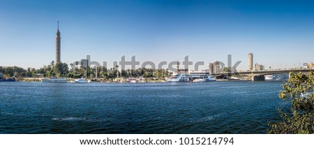 Panorama of the bank of the River Nile at Cairo, with TV Tower and Mosque standing prominent #1015214794