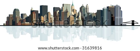 Panorama of the big city. Urban background. Raster version of vector illustration.