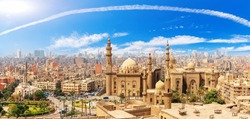 Panorama of the Cairo Citadel, the Mosque-Madrassa of Sultan Hassan, Egypt