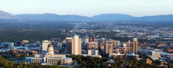 Panorama of the capital of Utah in Salt Lake City in the evening sun