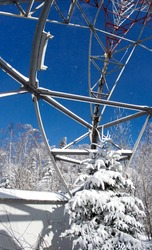 Panorama of the Carpathian mountains in winter from the transmitting tower