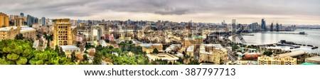 Panorama of the city centre of Baku - Azerbaijan