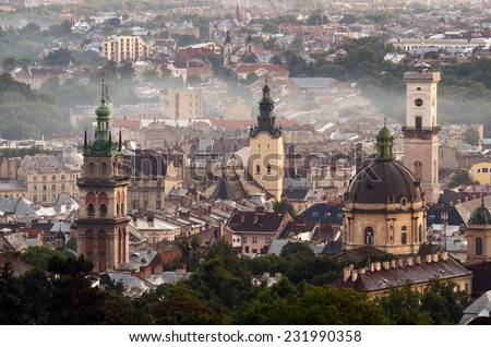 Panorama of the city of Lviv, Ukraine