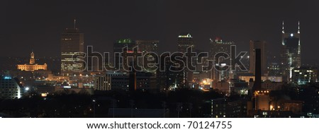 Panorama of the city of Nashville at night just after sunset