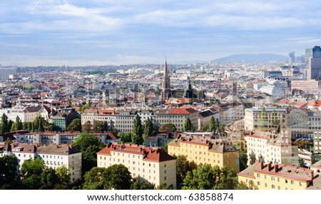 Panorama of the city of Vienna, Austria. Shot from Wiener Riesenrad