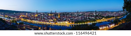 Panorama of the city of Wuerzburg with the Main river at night