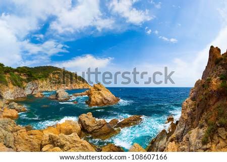 Panorama of the coast with rocks (Spain, Costa Brava, Tossa De Mar)