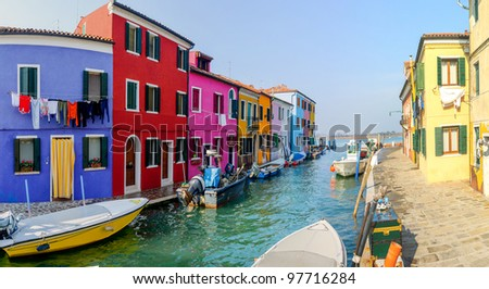 Panorama of the colorful houses Burano. Italy