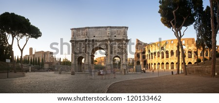 Panorama of the Colosseum and Arch of Constantine at sunset, Rome, Italy