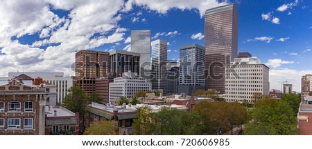 Panorama of the Downtown Denver, Colorado Skyline from Capital hill