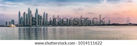 Panorama of the Dubai Marina during sunset #1014111622