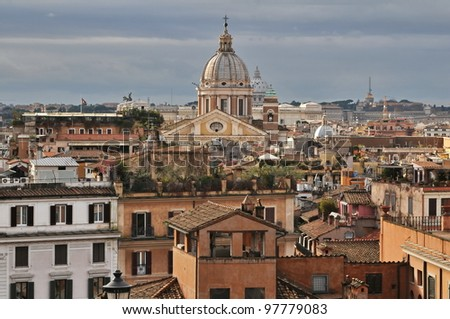 Panorama of the eternal city Rome, Italy (from Spanish steps)