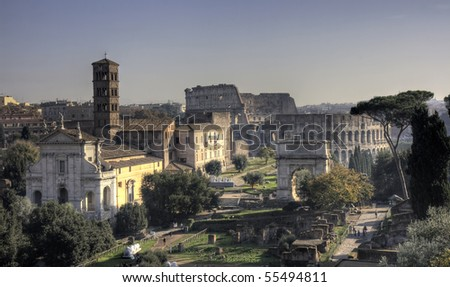 Panorama of the Forum Romanum with the Coliseum, Rome, Italy