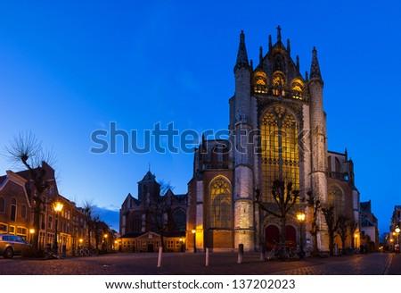 Panorama of the front of the 'Hooglandse kerk' church in Leiden at twilight #137202023