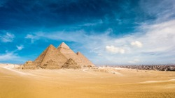 Panorama of the Great Pyramids of Giza, Egypt