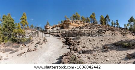Panorama of the hiking trail PR-TF 72 to the Paisaje Lunar near Vilaflor, Tenerife, Canary Islands Foto stock ©