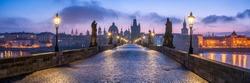 Panorama of the historic Charles Bridge in Prague, Czech Republic