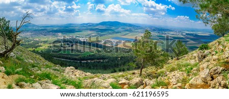 Panorama of the Jezreel Valley landscape, viewed from Mount Precipice. Northern Israel