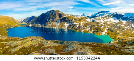 Panorama of the lake Djupvatnet on the road to mount Dalsnibba in Norway #1153042244