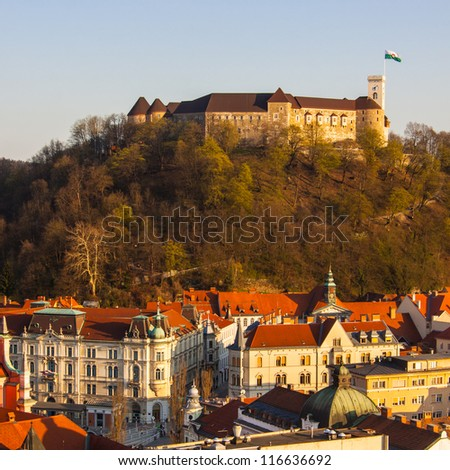 Panorama of the Ljubljana's castle with the midieval city cener. Ljubljana is the capital of Slovenia, Europe.
