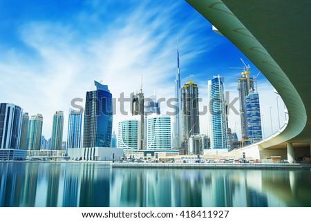 Panorama of the luxury center of Dubai,Dubai,United Arab Emirates