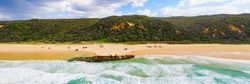 Panorama of the Maheno shipwreck on Fraser Island, Queensland, Australia