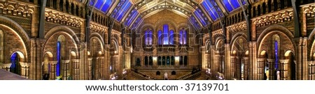 Panorama of the main Natural History Museum hall in London