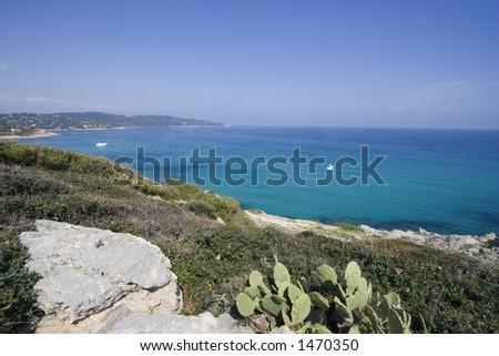 panorama of the mediterranean sea - ocean, cliffs and yachts