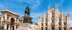 Panorama of the Milan city center, Italy. Galleria, monument to Victor Emmanuel and Milan Cathedral in summer. This place is a top tourist attraction of Milan. Beautiful view of the Milano landmarks.