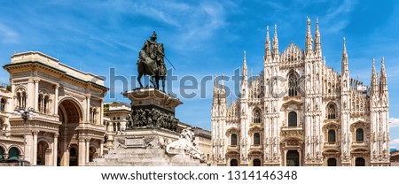 Panorama of the Milan city center, Italy. Galleria, monument to Victor Emmanuel and Milan Cathedral in summer. This place is a top tourist attraction of Milan. Beautiful view of the Milano landmarks. Foto d'archivio ©