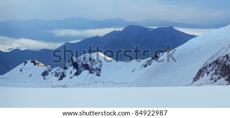 Panorama of the mountain array. Natural composition