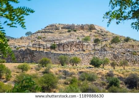Panorama of the Mycenaean Acropolis. Archaeological site of Mycenae in Peloponnese Greece