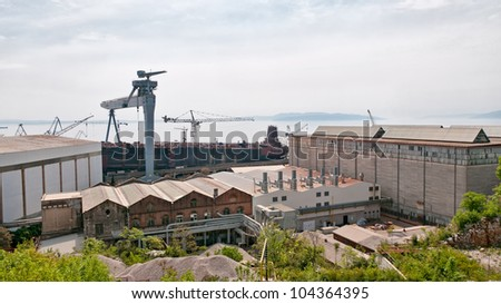 panorama of the naval shipyards of Rijeka in Croatia