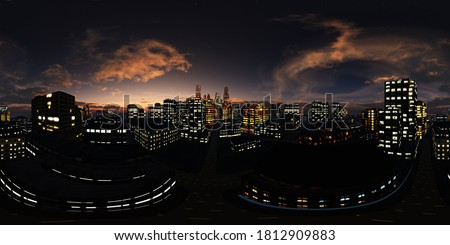 panorama of the night city, HDRI, environment map, Round panorama, spherical panorama, equidistant projection, 360 high resolution panorama