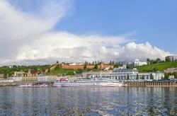 Panorama of the Nizhny Novgorod Kremlin and embankment from the Volga river. Nizhny Novgorod, Russia.
