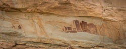 Panorama of the petroglyphs on the Temple Mountain Wash Pictograph Panel in Utah.