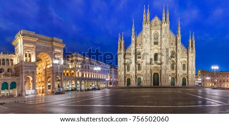 Panorama of the Piazza del Duomo, Cathedral Square, with Milan Cathedral or Duomo di Milano and Galleria Vittorio Emanuele II, during morning blue hour, Milan, Lombardia, Italy #756502060