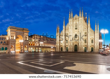 Panorama of the Piazza del Duomo, Cathedral Square, with Milan Cathedral or Duomo di Milano and Galleria Vittorio Emanuele II, during morning blue hour, Milan, Lombardia, Italy #757453690