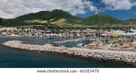 Panorama of the port of Basseterre, St. Kitts.
