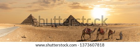 Panorama of the Pyramid of Khafre, the Pyramid of Menkaure and the three pyramid companions, Giza, Egypt