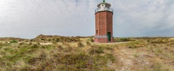 Panorama of the Red Cliff Lighthouse, which  was built in 1912 and 1913 as a crossfire to warn of a sandbar at Sylt / Germany