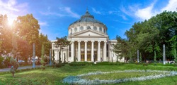 Panorama of The Romanian Athenaeum George Enescu (Ateneul Roman) in Bucharest, Romania. Most prestigious concert hall and one of the most beautiful buildings in the city. the famous landmark
