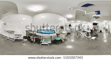 Panorama of the room for delivery in the maternity hospital for women. Interior of the 360 room in the maternity hospital with a lot of equipment for resuscitation and for the delivery of labor Stock photo ©