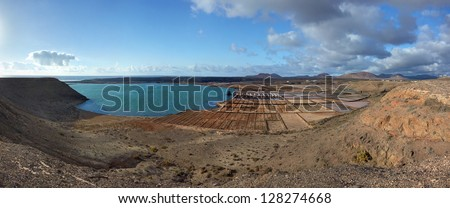 Panorama of the salt refinery. Salinas del Janubio. Lanzarote, Canary Islands, Spain.