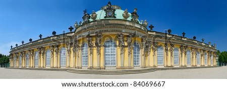 Panorama of the Sans Souci palace. Berlin, Germany
