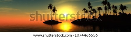 Stock Photo panorama of the sea sunset, the sun over a tropical island with palm trees, 3D rendering
