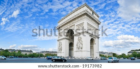 Panorama of the square with Arc de Triomphe in Paris, France.