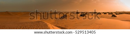 Panorama of the sunset over the stunning sand dunes in the Natural Reserve of Dunes of Maspaloma in Gran Canaria, Canary Islands, Spain #529513405