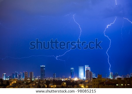 Panorama of the Tel Aviv with lightning over a city